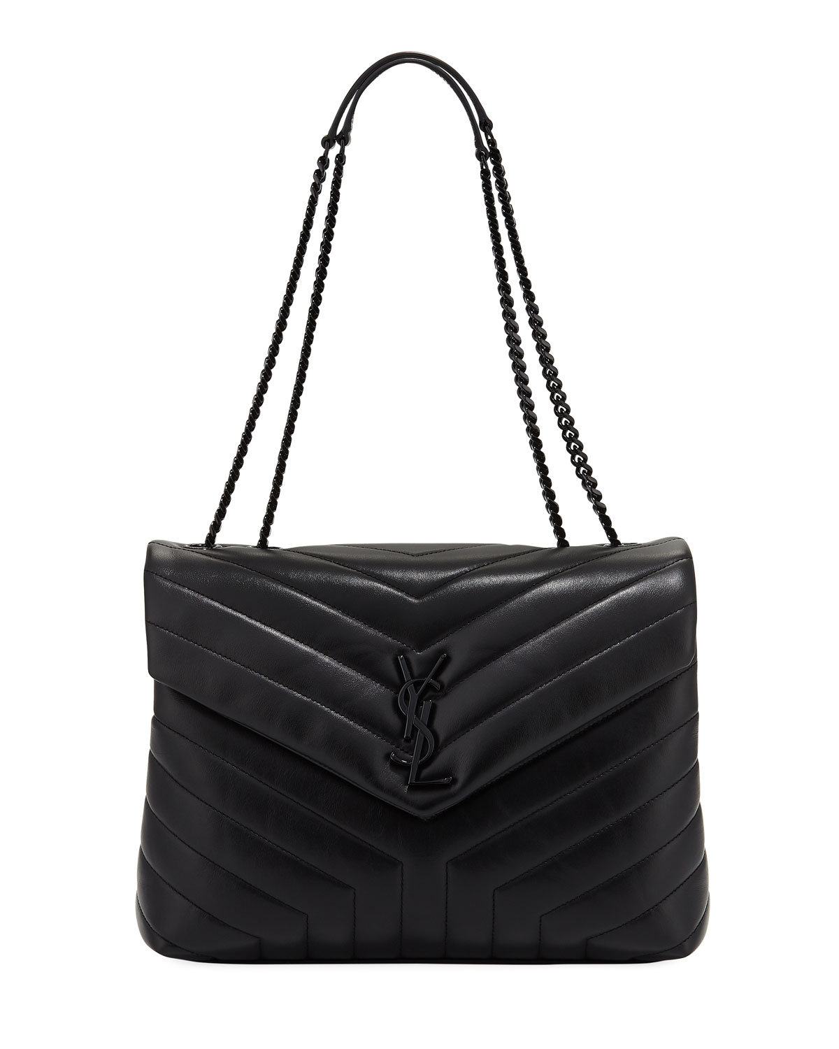 Saint Laurent Loulou Monogram Medium Chain Bag With Black