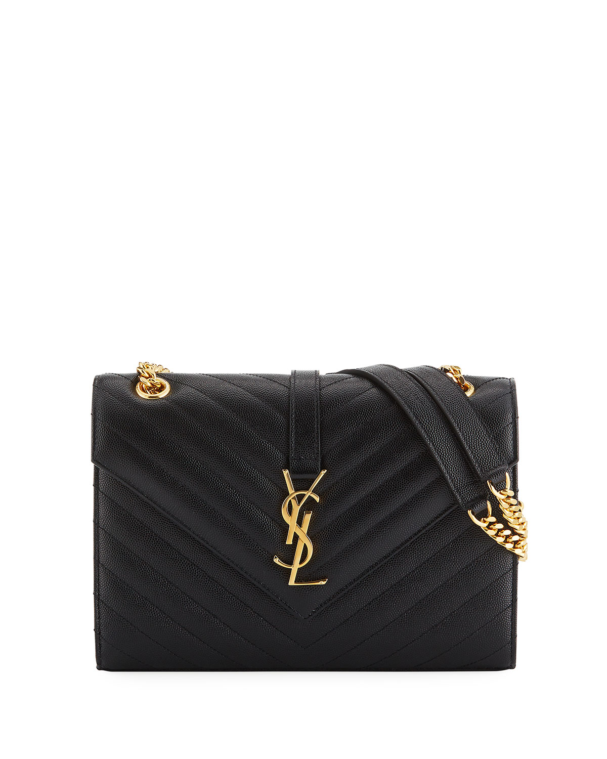 Saint Laurent V Flap Monogram Medium Envelope Shoulder Bag