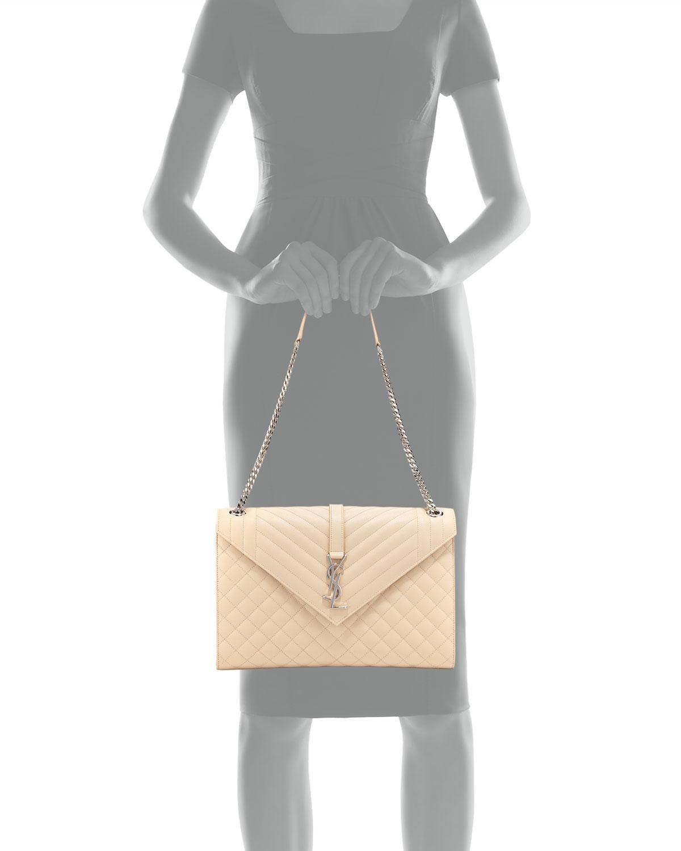 2f3015a730 Saint Laurent Monogram YSL V-Flap Large Tri-Quilt Envelope Chain Shoulder  Bag - Miroir Hardware | Neiman Marcus