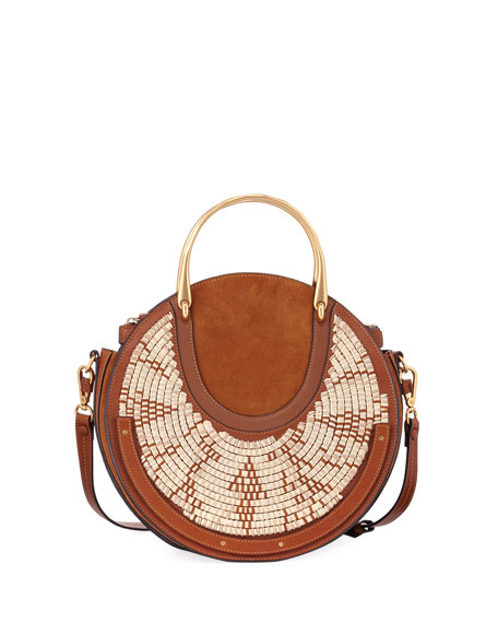 Chloe Pixie Medium Round Woven Shoulder Bag