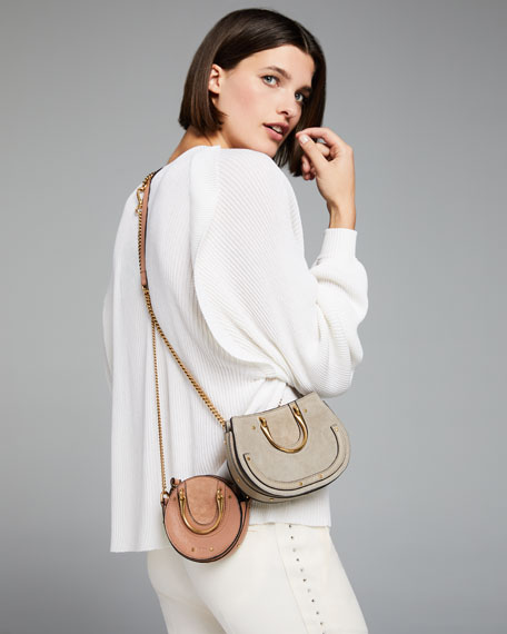Image 2 of 5: Pixie Mini Leather/Suede Crossbody Bag