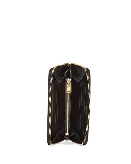 Quilted Zip-Around Wallet with Golden Hardware