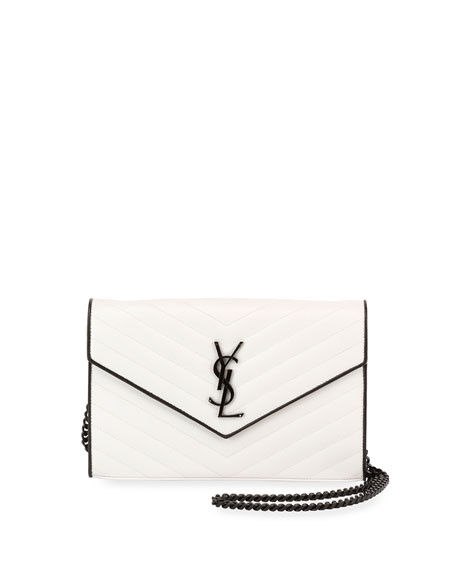 Saint Laurent Matelassé Monogram Small Two-Tone Wallet on