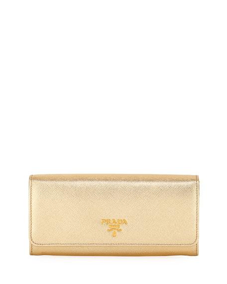 Prada Saffiano Metal Oro Continental Wallet