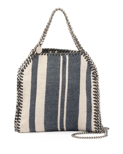 Falabella Striped Canvas Mini Tote Bag