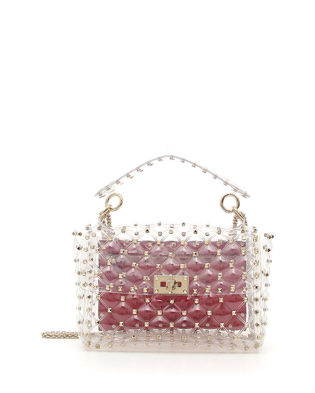 61cd4d3560 Valentino Garavani Rockstud Spike Plexi Medium Shoulder Bag | Neiman ...
