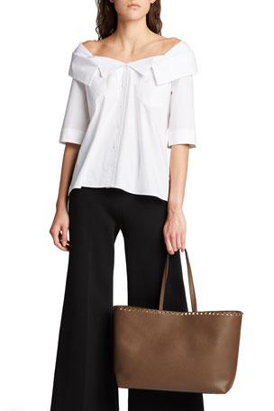 Ye Store Black And White Border Lady PU Leather Handbag Tote Bag Shoulder Bag Shopping Bag