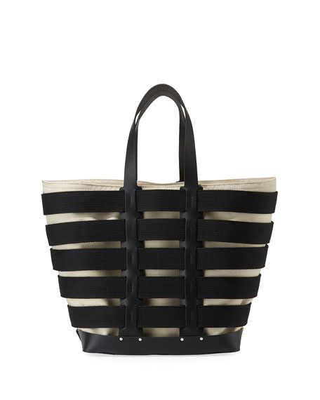 Cage Leather & Canvas Tote - Black