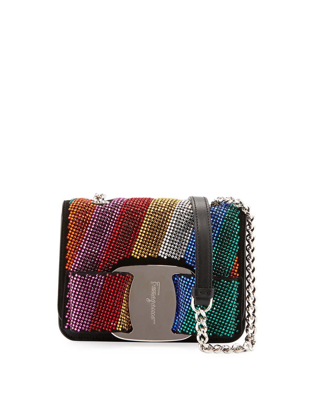 741570f3c1 Salvatore Ferragamo Vara Rainbow Crystal Shoulder Bag