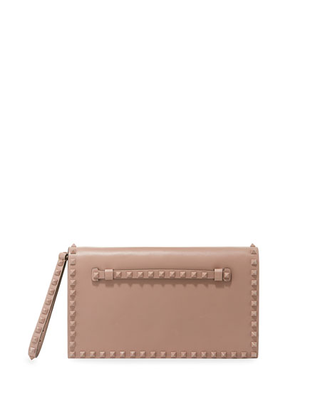 Monochrome Rockstud Leather Wristlet Clutch Bag