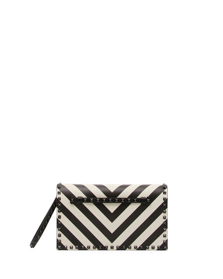 Rockstud V-Stripe Clutch Bag