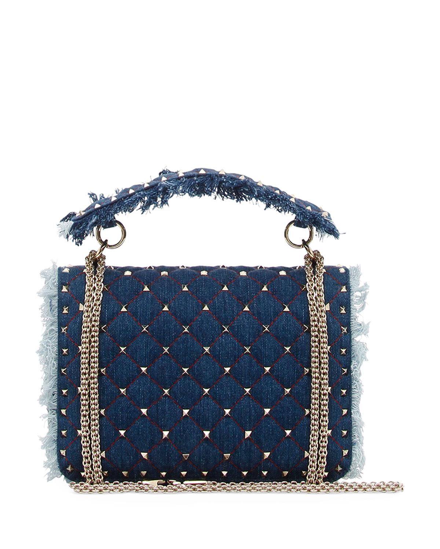 c7602cc2c0 Valentino Garavani Rockstud Spike Medium Fringe Denim Shoulder Bag | Neiman  Marcus