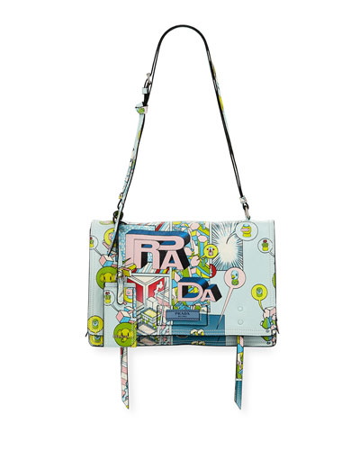 Etiquette Medium Comic Print Shoulder Bag