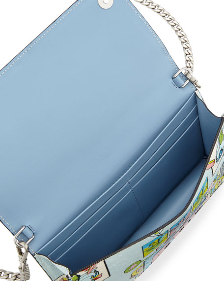 Etiquette Mini Comic-Print Glace Calf Crossbody Wallet