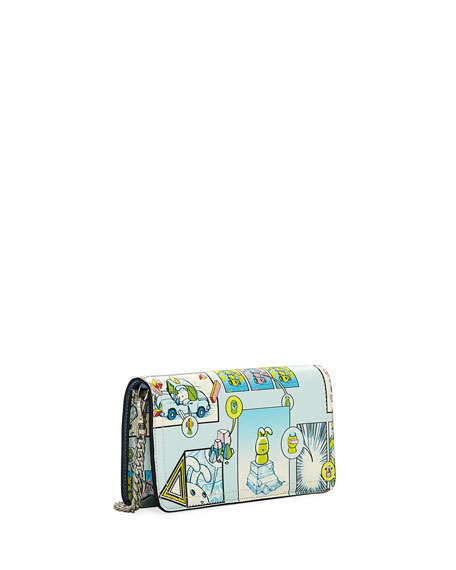 Etiquette Mini Comic-Print Glace Calf Crossbody Wallet