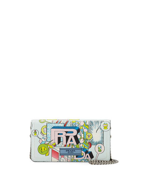 Prada Etiquette Mini Comic-Print Glace Calf Crossbody Wallet