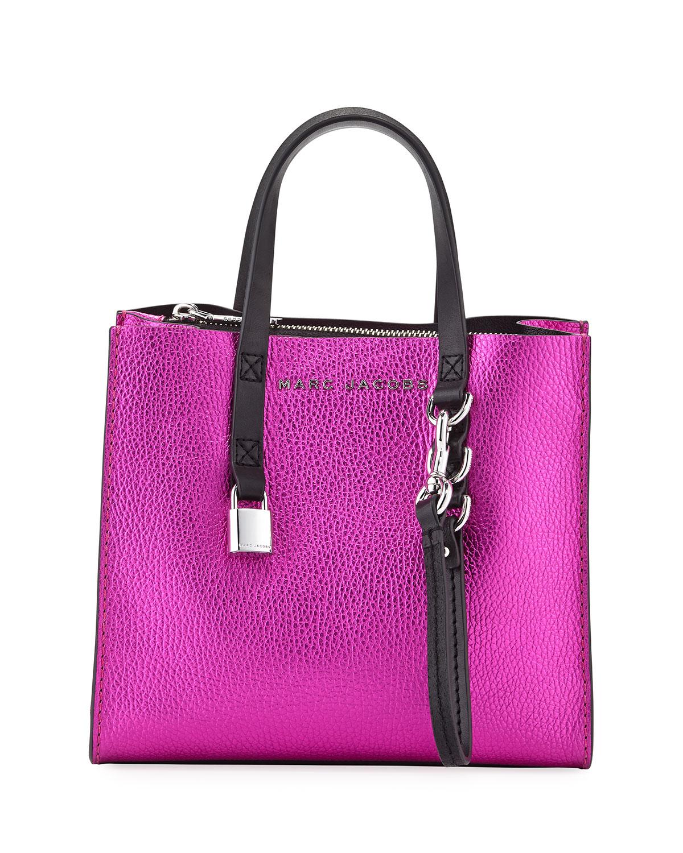 93ea89bf0a6e Marc Jacobs Grind Mini Metallic Leather Shopper Tote Bag