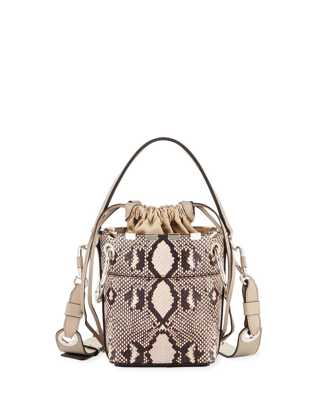 a18c34b45576 Chloe Roy Mini Python-Print Bucket Bag | Neiman Marcus