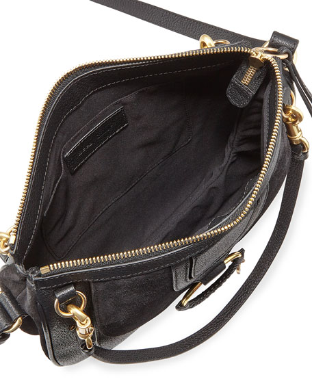 Hana Small Leather and Suede Crossbody Bag
