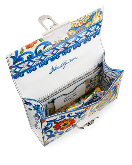 Lucia Maiolica-Print Top Handle Bag