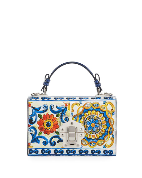 Dolce & Gabbana Lucia Maiolica-Print Top Handle Bag