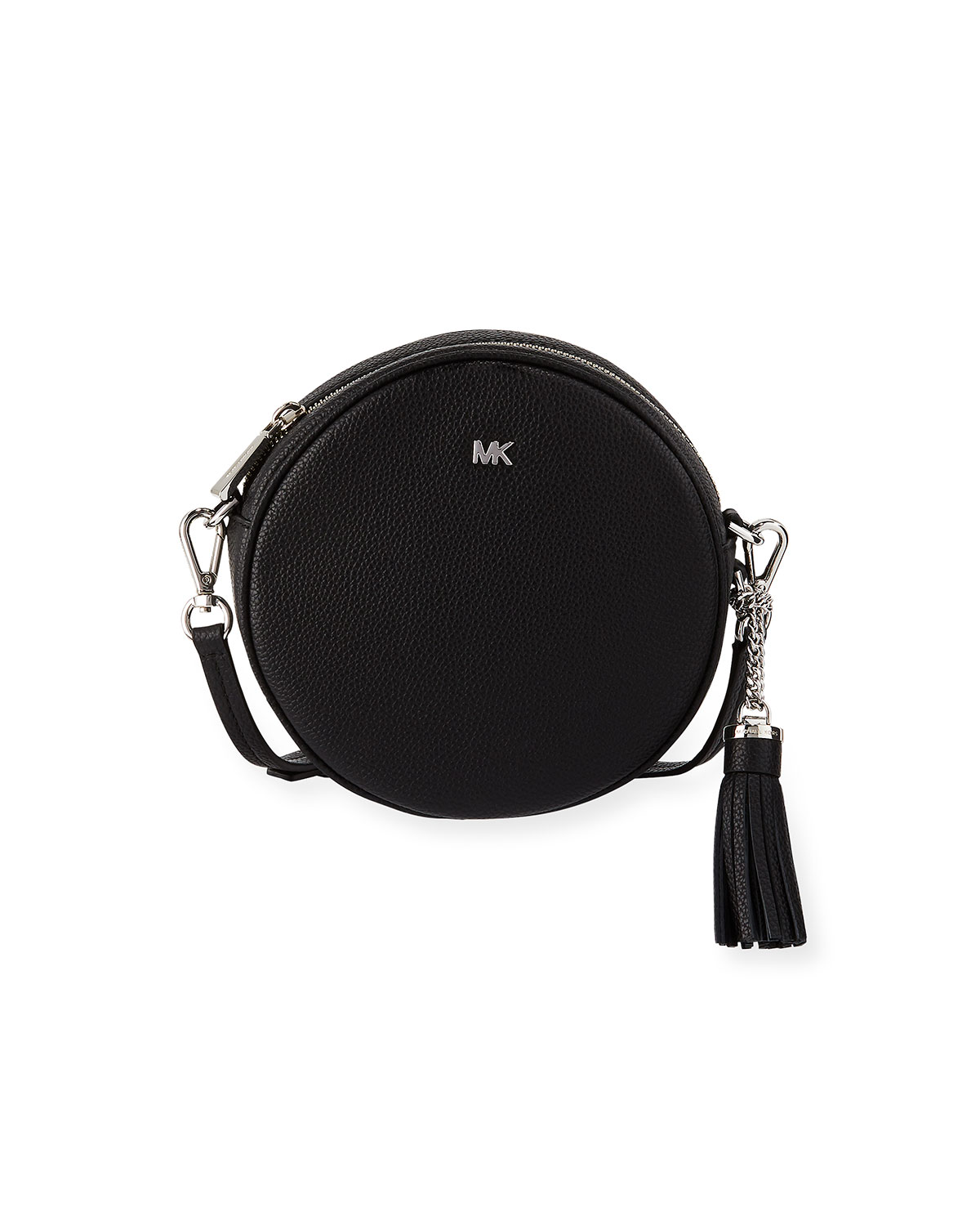 d947db14a1e5 MICHAEL Michael Kors Canteen Medium Round Leather Crossbody Bag -  Silvertone Hardware
