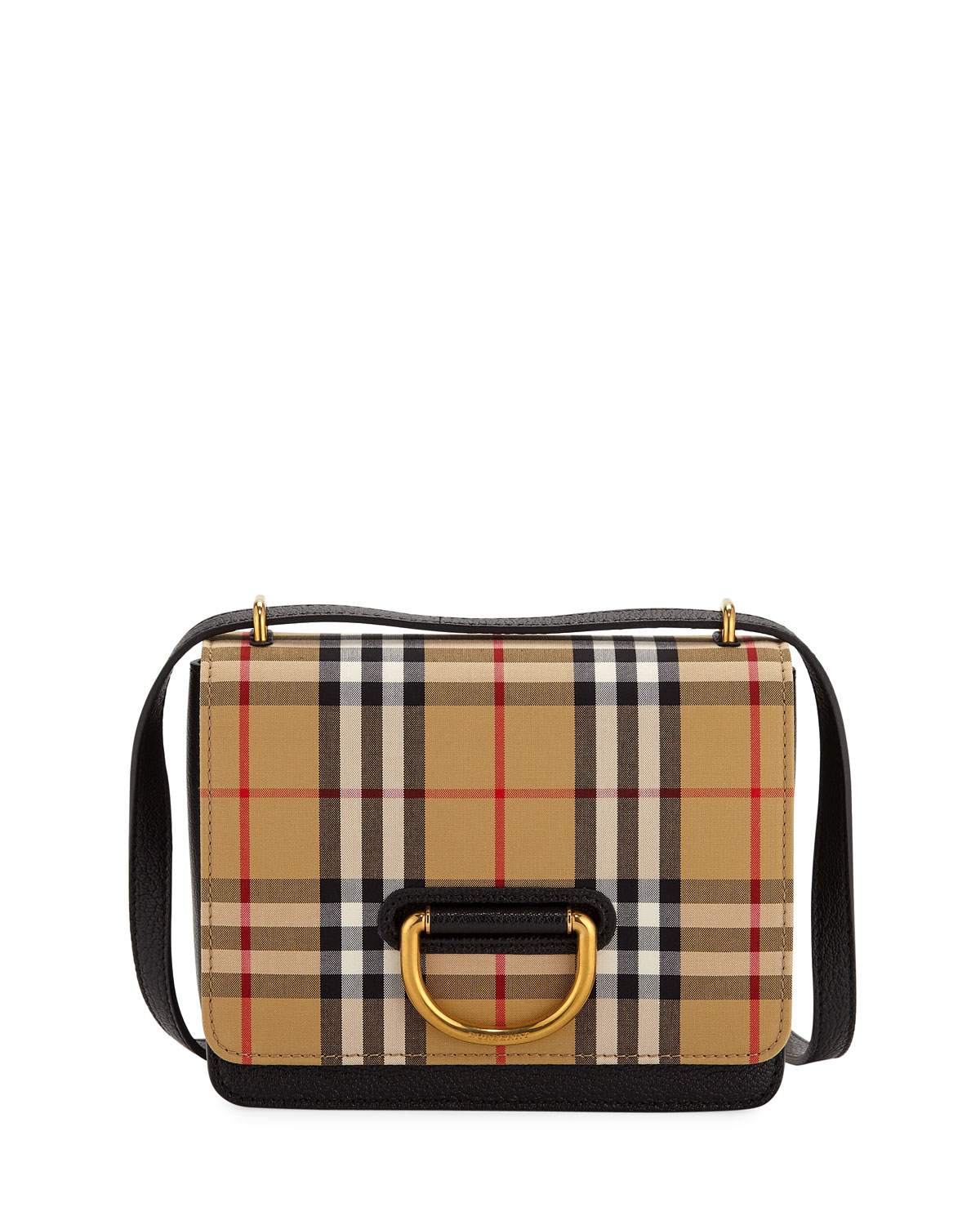 13687a410bb Burberry Small D-Ring Check Crossbody Messenger Bag | Neiman Marcus