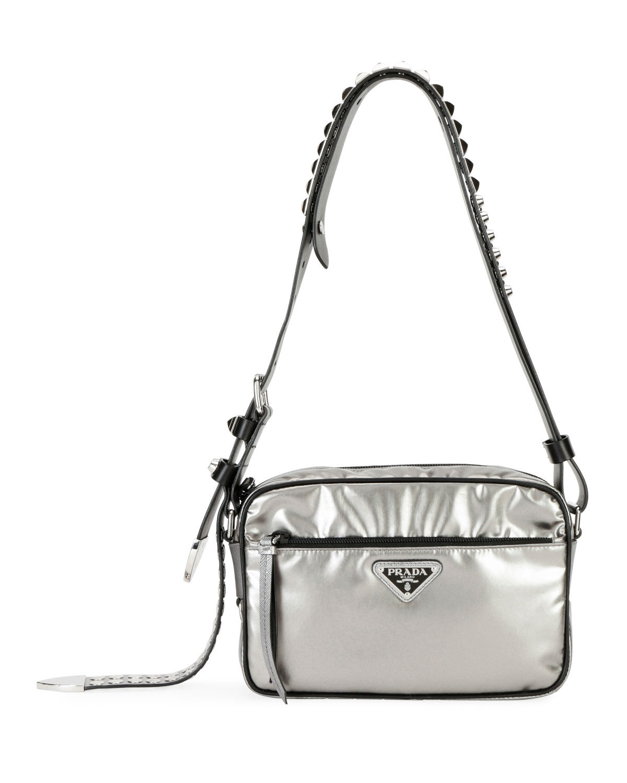 36cbf29ee1d397 Prada Prada Black Nylon Shoulder Bag with Studding, Silver | Neiman ...