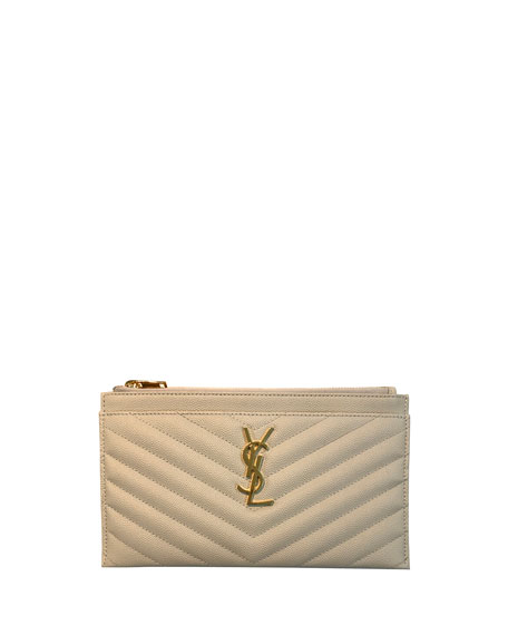 Monogram Matte Quilted Bill Pouch Wallet by Neiman Marcus