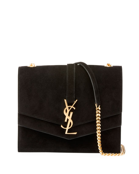 Saint Laurent Sulpice Suede Triple V-Flap Shoulder Bag