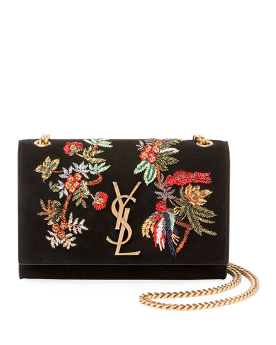 Monogram YSL Floral Bird Embroidered Suede Flap Wallet on Chain Bag