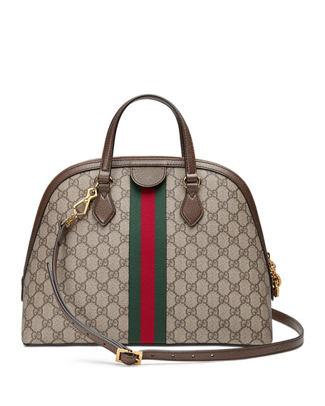 Image 2 of 4: Gucci Ophidia Medium Web GG Supreme Top-Handle Bag