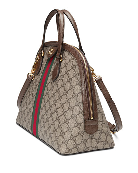 Image 3 of 4: Gucci Ophidia Medium Web GG Supreme Top-Handle Bag