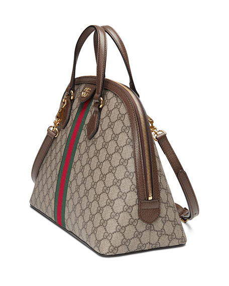 Image 4 of 4: Gucci Ophidia Medium Web GG Supreme Top-Handle Bag