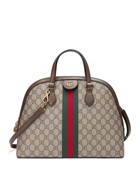 Image 1 of 4: Gucci Ophidia Medium Web GG Supreme Top-Handle Bag