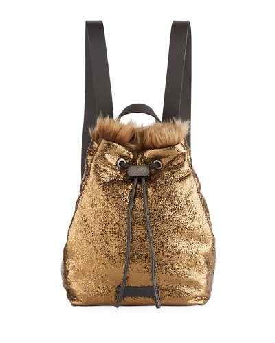 Broken-Glass Effect Backpack with Shearling Fur