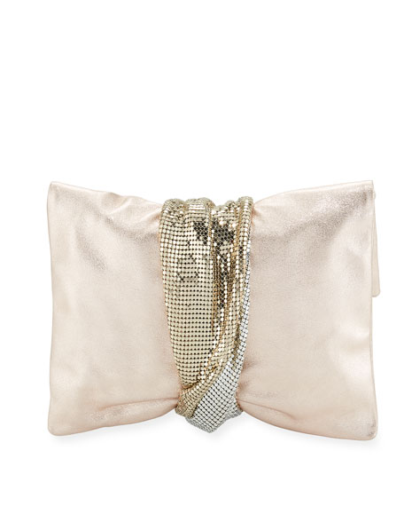 Jimmy Choo Chandra Metallic Leather Clutch Bag