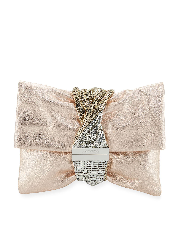 f28b546513f Jimmy Choo Chandra Metallic Leather Clutch Bag | Neiman Marcus