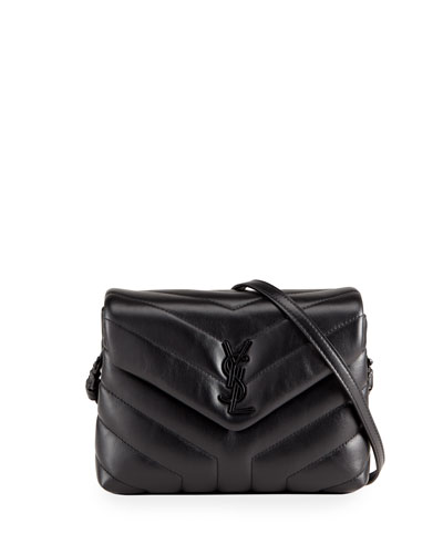 Loulou Toy Matelasse Calfskin Flap-Top Shoulder Bag  Black Hardware