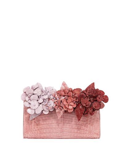 Pyramid Crocodile Clutch Bag with Flowers