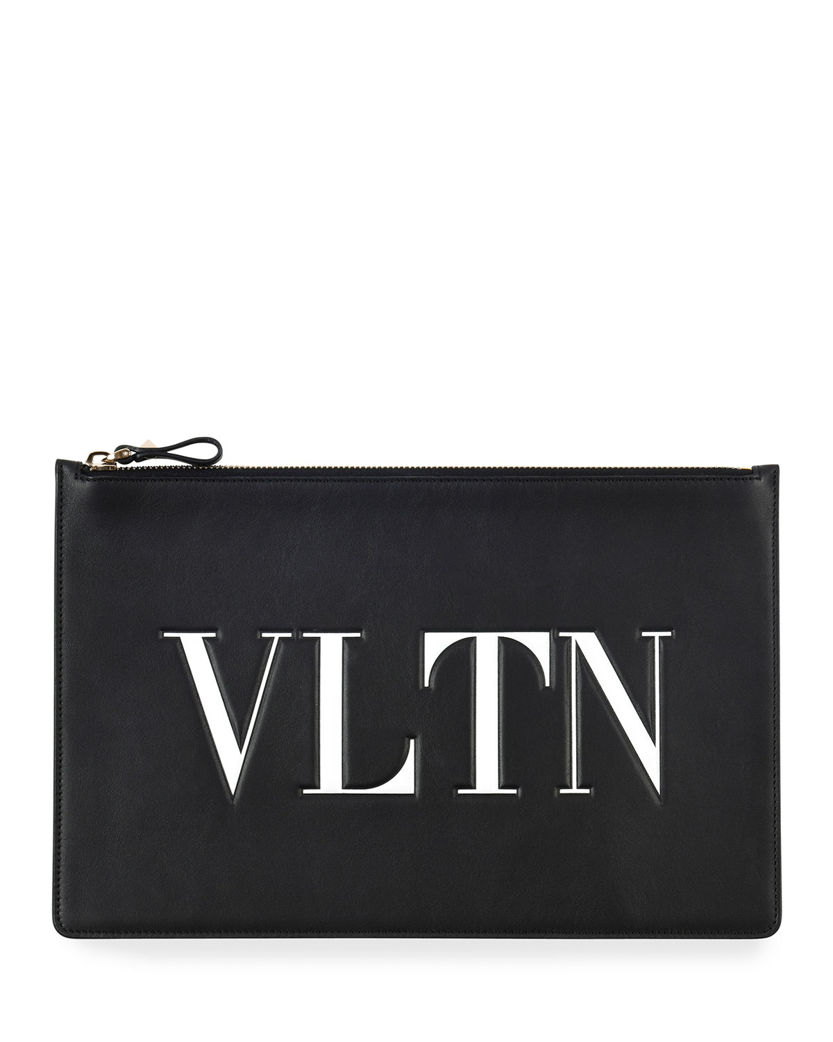 Vintage Child At Sunny Beach With Travel Suitcase Stock: Valentino Garavani VLTN Large Flat Pouch Clutch Bag