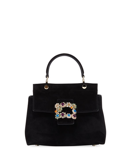Roger Vivier Viv Cabas Mini Flower Buckle Top-Handle