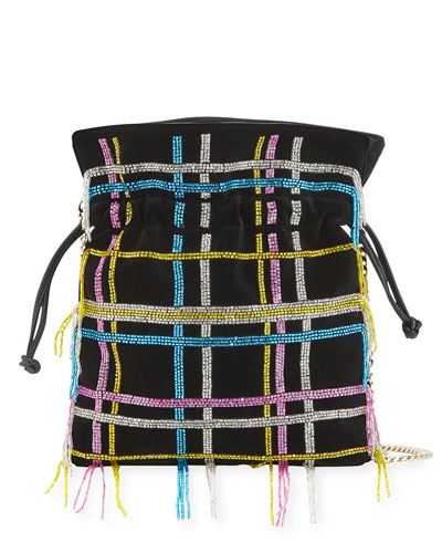 Trilly Disco Tartan Velvet Crossbody Bag