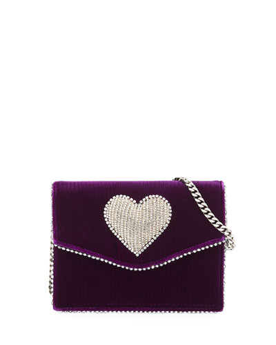 Lulu Disco Heart Velvet Crossbody Bag