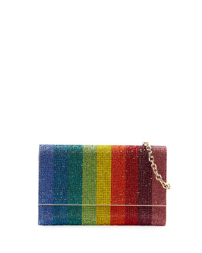 Judith Leiber Couture Fizzoni Rainbow Crystal Full Beaded Clutch Bag
