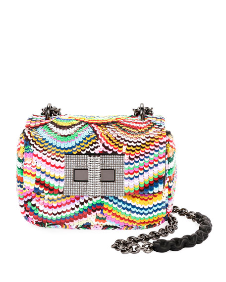 Natalia Small Soft Carioca Embroidered Rainbow Shoulder Bag