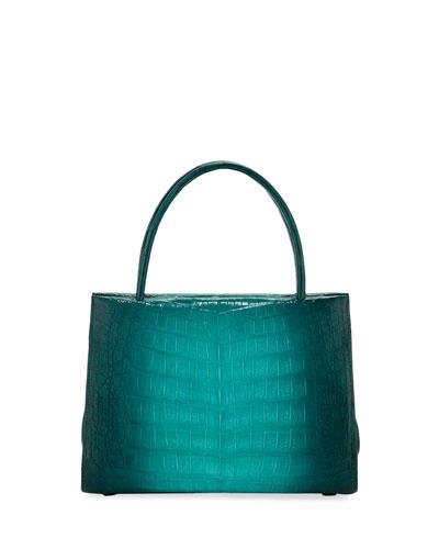 Wallis Mini Ombre Crocodile Top Handle Bag