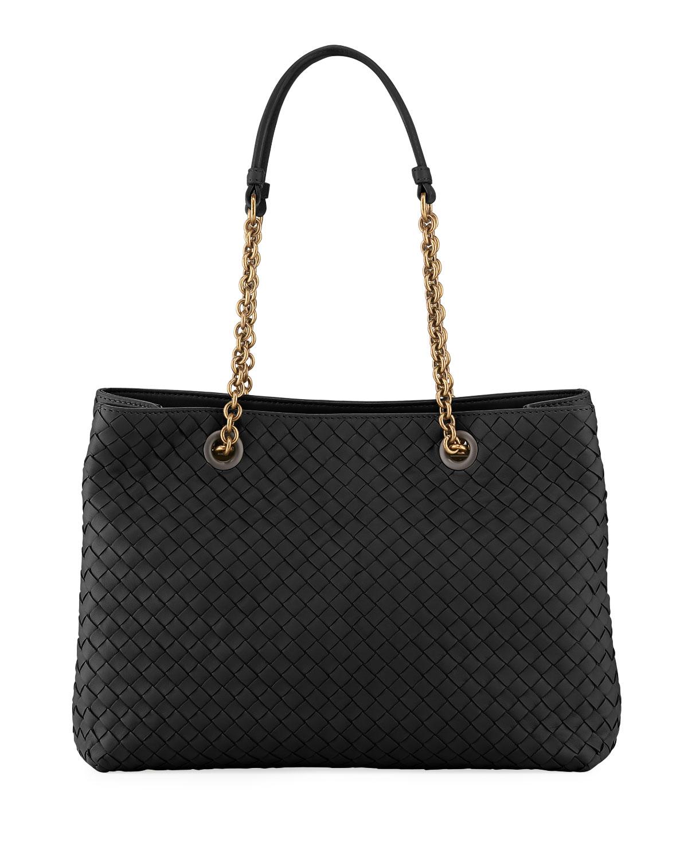 d6a579c25 Bottega Veneta Intrecciato Small Double-Chain Tote Bag | Neiman Marcus