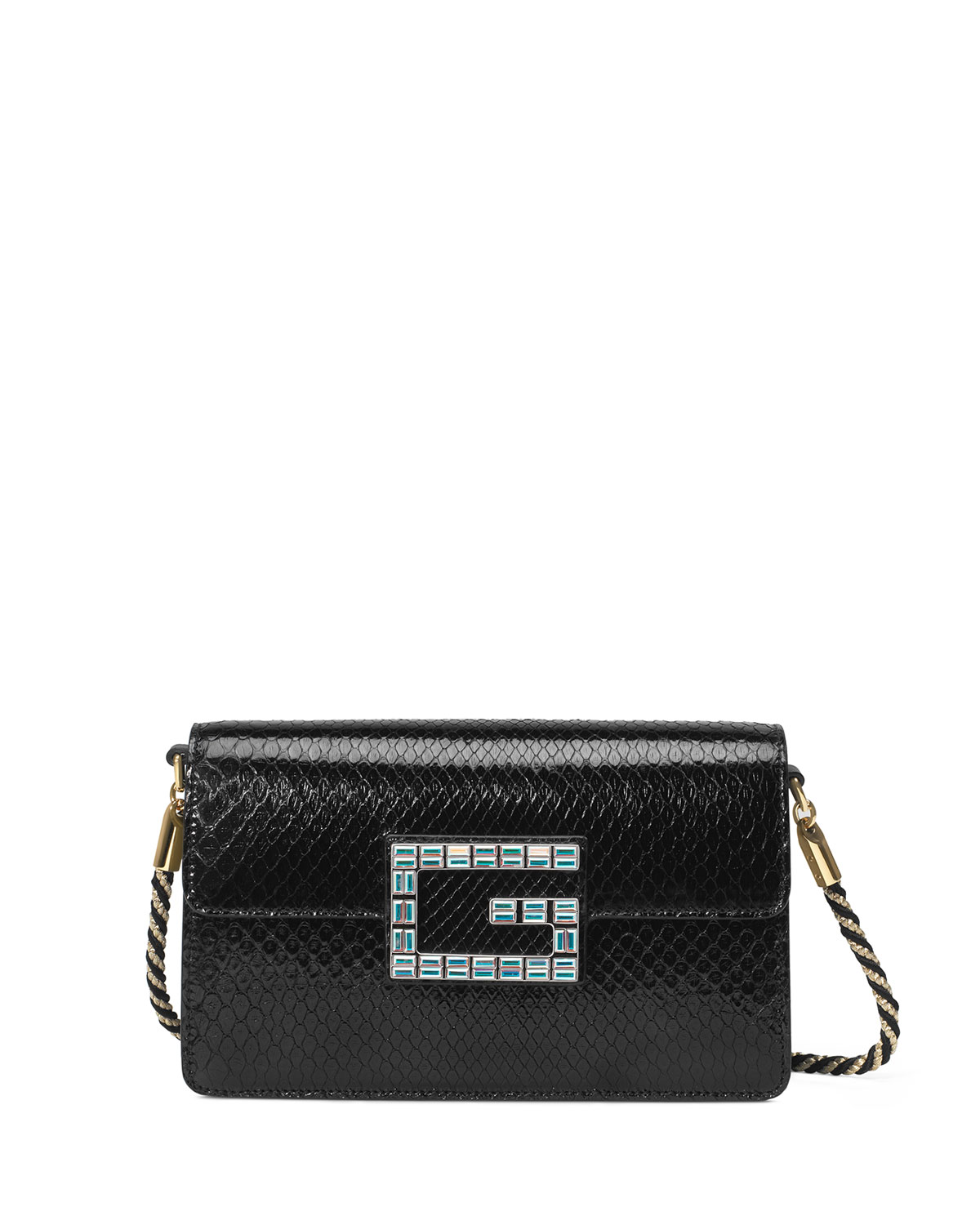 a2ef255915fe Gucci Broadway Small Python Snake Shoulder Bag with Square G ...