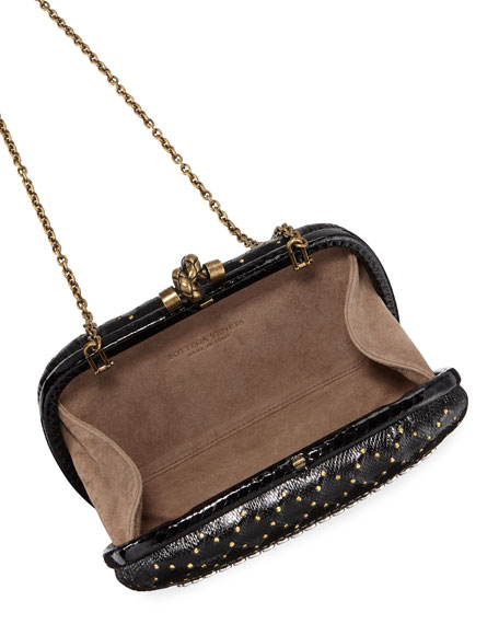 Bottega Veneta Karung Chain Knot Clutch Bag with Cantena Mirror Embellishment